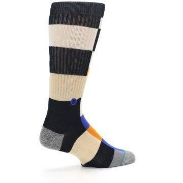 Image of Black Orange Blue Check Men's Casual Socks (side-1-23)