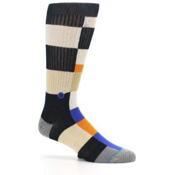 Image of Black Orange Blue Check Men's Casual Socks (side-1-25)
