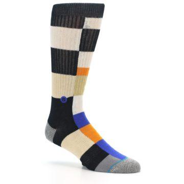 Image of Black Orange Blue Check Men's Casual Socks (side-1-26)
