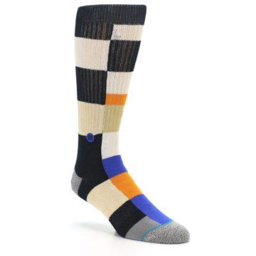 Image of Black Orange Blue Check Men's Casual Socks (side-1-27)