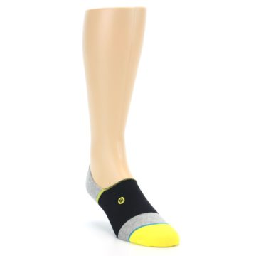 Image of Black Grey Yellow Stripe Men's No Show Socks (side-1-front-02)