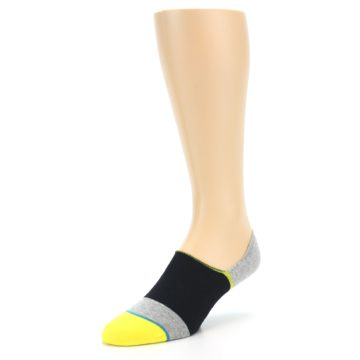 Image of Black Grey Yellow Stripe Men's No Show Socks (side-2-front-08)