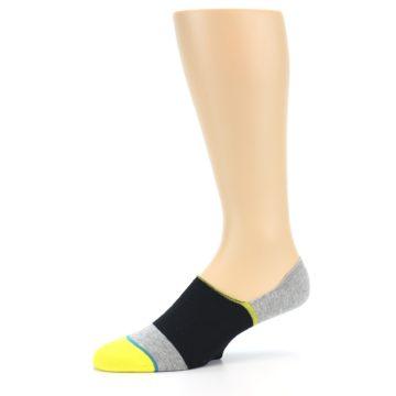 Image of Black Grey Yellow Stripe Men's No Show Socks (side-2-10)