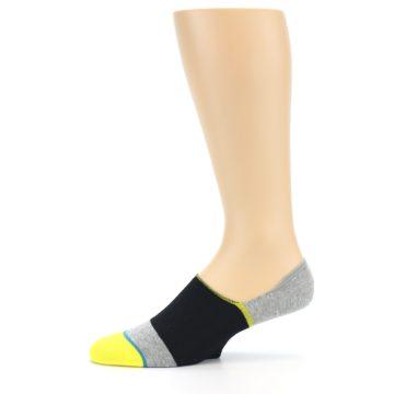 Image of Black Grey Yellow Stripe Men's No Show Socks (side-2-11)