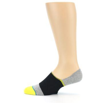 Image of Black Grey Yellow Stripe Men's No Show Socks (side-2-12)