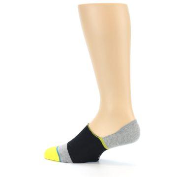 Image of Black Grey Yellow Stripe Men's No Show Socks (side-2-13)