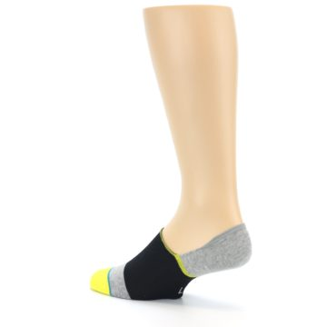 Image of Black Grey Yellow Stripe Men's No Show Socks (side-2-back-14)