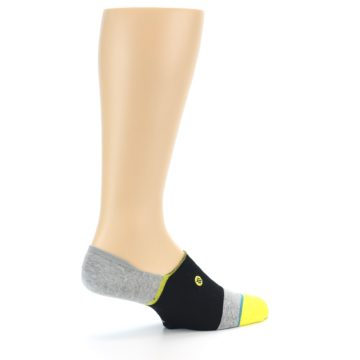 Image of Black Grey Yellow Stripe Men's No Show Socks (side-1-23)