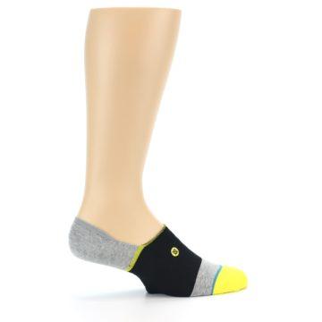 Image of Black Grey Yellow Stripe Men's No Show Socks (side-1-24)