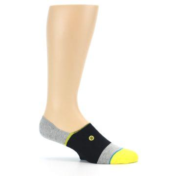 Image of Black Grey Yellow Stripe Men's No Show Socks (side-1-25)