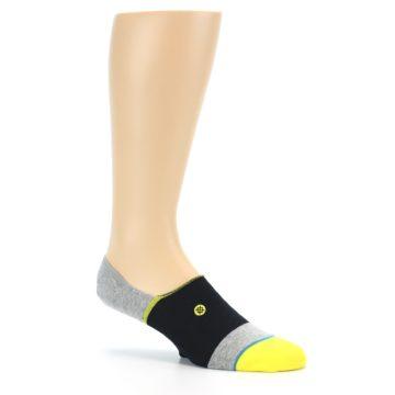 Image of Black Grey Yellow Stripe Men's No Show Socks (side-1-26)