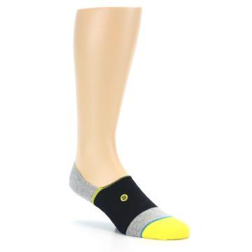 Image of Black Grey Yellow Stripe Men's No Show Socks (side-1-27)