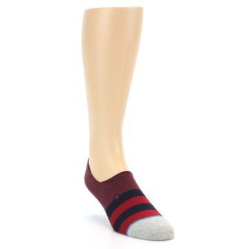 Image of Red Navy Stripe Men's No Show Socks (side-1-front-02)