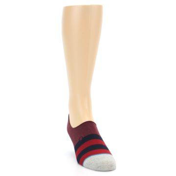 Image of Red Navy Stripe Men's No Show Socks (side-1-front-03)