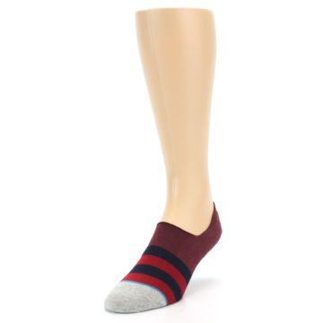 Image of Red Navy Stripe Men's No Show Socks (side-2-front-07)
