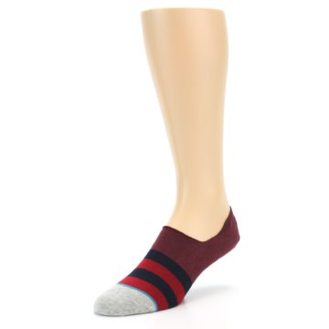 Image of Red Navy Stripe Men's No Show Socks (side-2-front-08)
