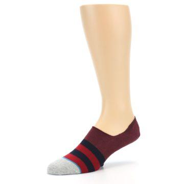 Image of Red Navy Stripe Men's No Show Socks (side-2-09)