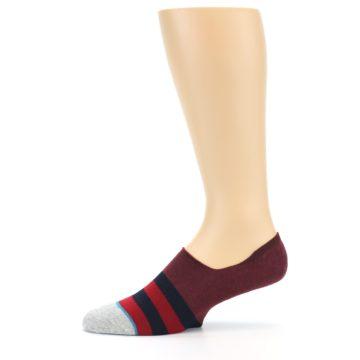 Image of Red Navy Stripe Men's No Show Socks (side-2-11)