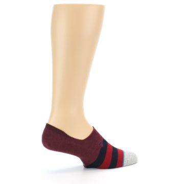 Image of Red Navy Stripe Men's No Show Socks (side-1-23)