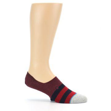 Image of Red Navy Stripe Men's No Show Socks (side-1-25)