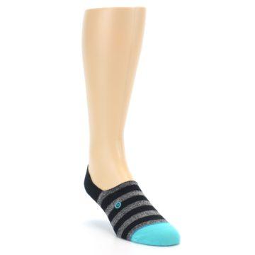 Image of Grey Heather Black Stripe Men's No Show Socks (side-1-front-02)