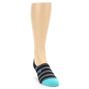 Image of Grey Heather Black Stripe Men's No Show Socks (side-1-front-03)
