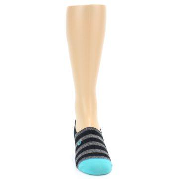 Image of Grey Heather Black Stripe Men's No Show Socks (front-04)
