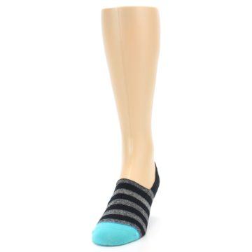 Image of Grey Heather Black Stripe Men's No Show Socks (side-2-front-06)