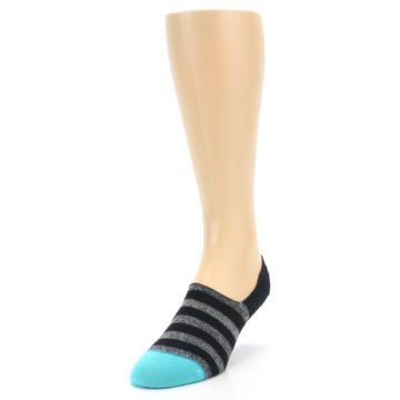 Image of Grey Heather Black Stripe Men's No Show Socks (side-2-front-07)
