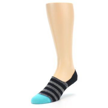 Image of Grey Heather Black Stripe Men's No Show Socks (side-2-front-08)