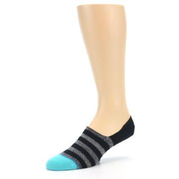 Image of Grey Heather Black Stripe Men's No Show Socks (side-2-09)