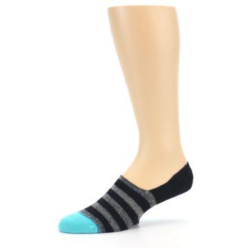 Image of Grey Heather Black Stripe Men's No Show Socks (side-2-10)
