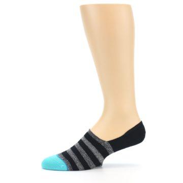 Image of Grey Heather Black Stripe Men's No Show Socks (side-2-11)