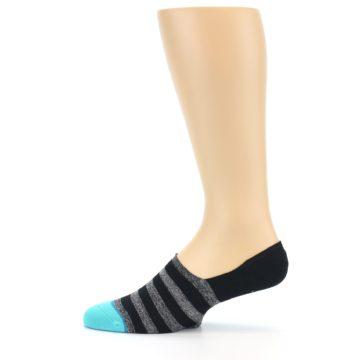 Image of Grey Heather Black Stripe Men's No Show Socks (side-2-12)