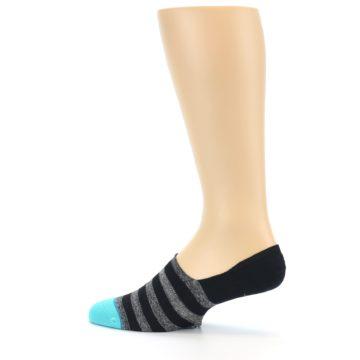 Image of Grey Heather Black Stripe Men's No Show Socks (side-2-13)
