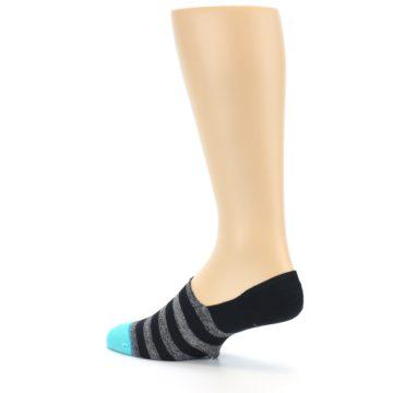 Image of Grey Heather Black Stripe Men's No Show Socks (side-2-back-14)