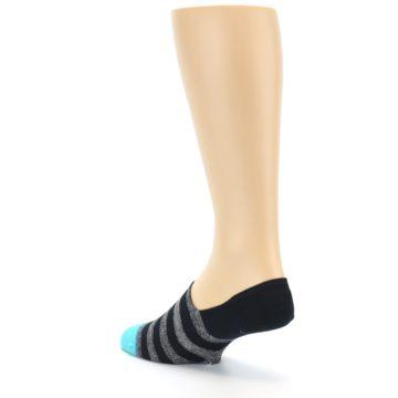 Image of Grey Heather Black Stripe Men's No Show Socks (side-2-back-15)