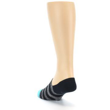 Image of Grey Heather Black Stripe Men's No Show Socks (side-2-back-16)