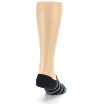Image of Grey Heather Black Stripe Men's No Show Socks (side-1-back-20)