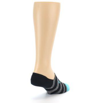 Image of Grey Heather Black Stripe Men's No Show Socks (side-1-back-21)