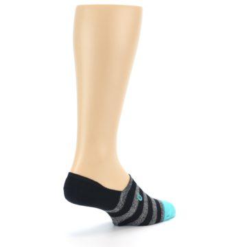 Image of Grey Heather Black Stripe Men's No Show Socks (side-1-back-22)