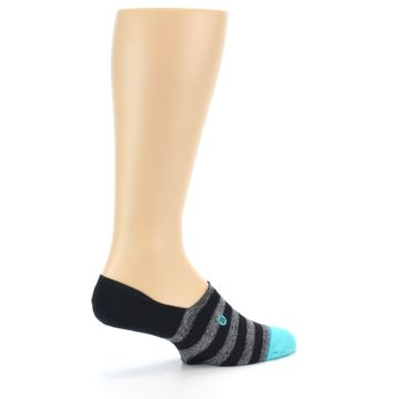 Image of Grey Heather Black Stripe Men's No Show Socks (side-1-23)