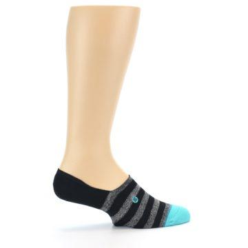 Image of Grey Heather Black Stripe Men's No Show Socks (side-1-24)
