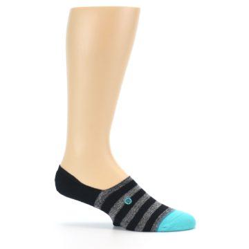 Image of Grey Heather Black Stripe Men's No Show Socks (side-1-25)