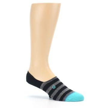 Image of Grey Heather Black Stripe Men's No Show Socks (side-1-26)