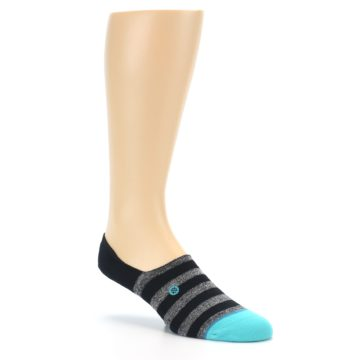 Image of Grey Heather Black Stripe Men's No Show Socks (side-1-27)