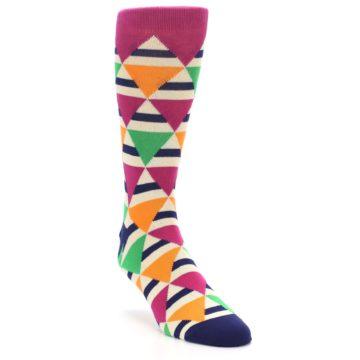 Image of Pink Green Orange Triangles Men's Dress Socks (side-1-front-02)