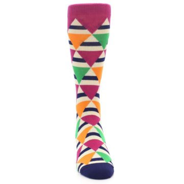 Image of Pink Green Orange Triangles Men's Dress Socks (front-04)