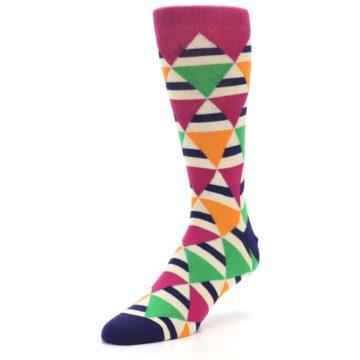 Image of Pink Green Orange Triangles Men's Dress Socks (side-2-front-08)