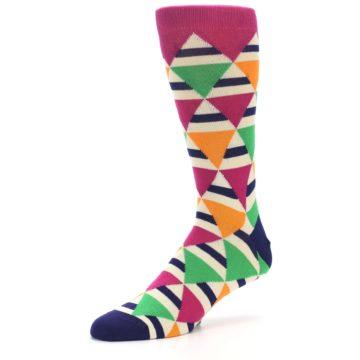 Image of Pink Green Orange Triangles Men's Dress Socks (side-2-09)